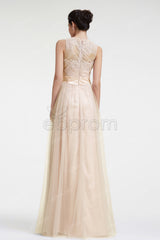 lace beaded champagne prom dresses long