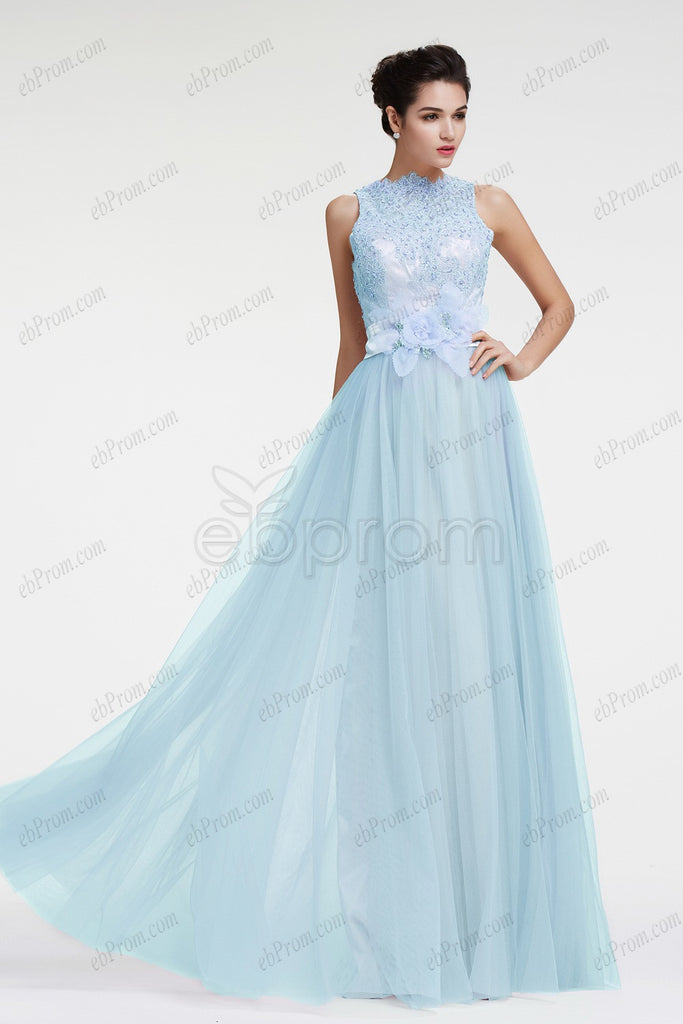 light blue beaded lace modest evening dress plus size formal dress ...