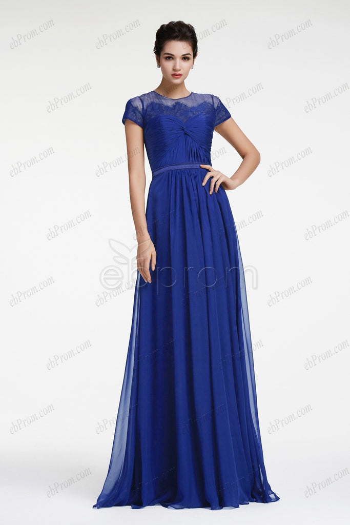 Chiffon Royal blue prom dress with sleeves evening dresses