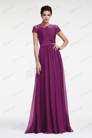 Plum Modest mother of the bride dress with sleeves