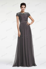 Charcoal grey bridesmaid dresses with sleeves