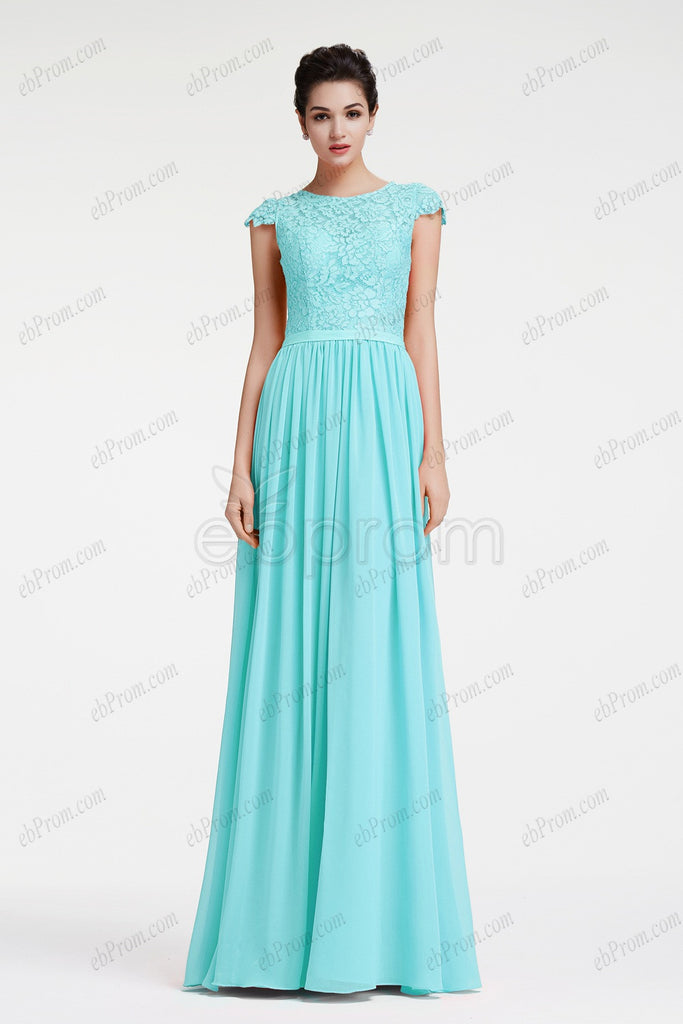 Cap Sleeves Modest Light blue prom dresses long