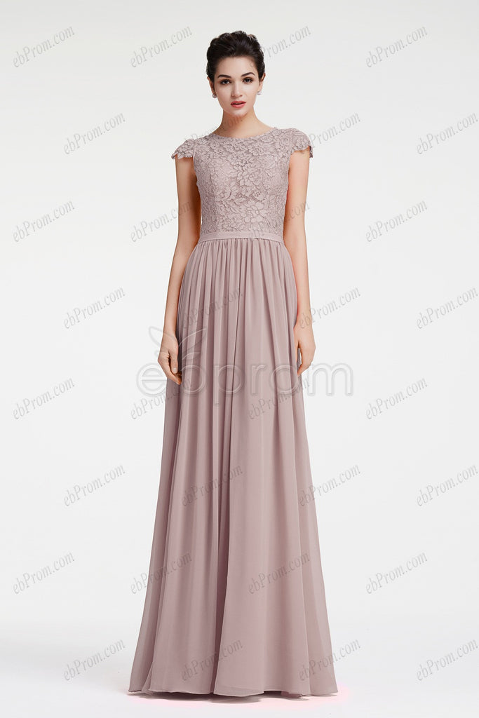 Grey Modest Neutral Bridesmaid Dresses Plus Size Formal Dresses Ebprom