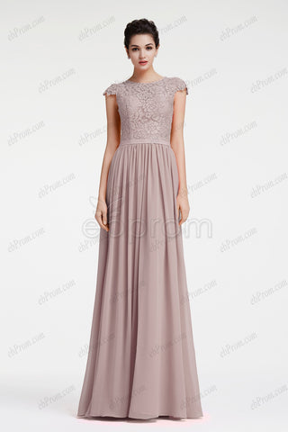 Grey Modest Neutral Bridesmaid Dresses Plus Size formal Dresses