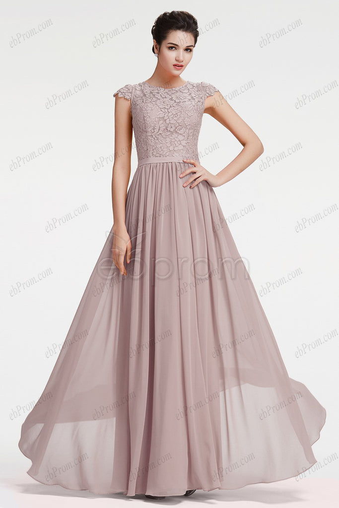 Grey Modest Neutral Bridesmaid Dresses Plus Size formal Dresses – ebProm