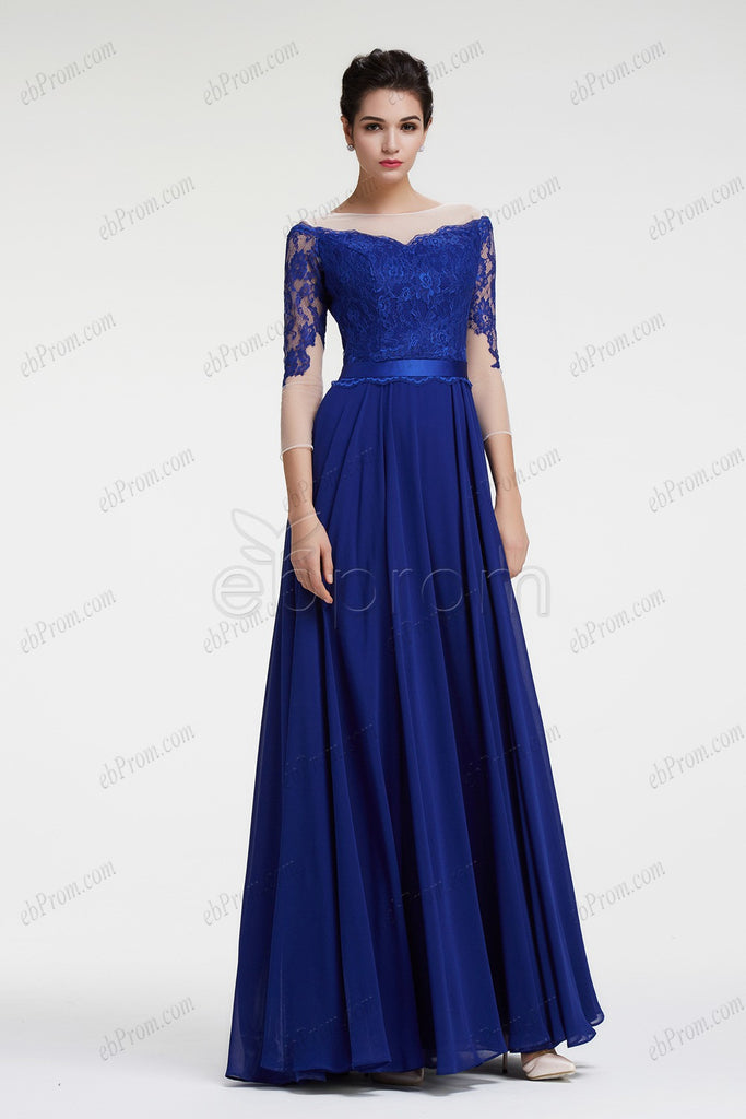 Royal blue mother of the bride dress with sleeves plus size formal ...