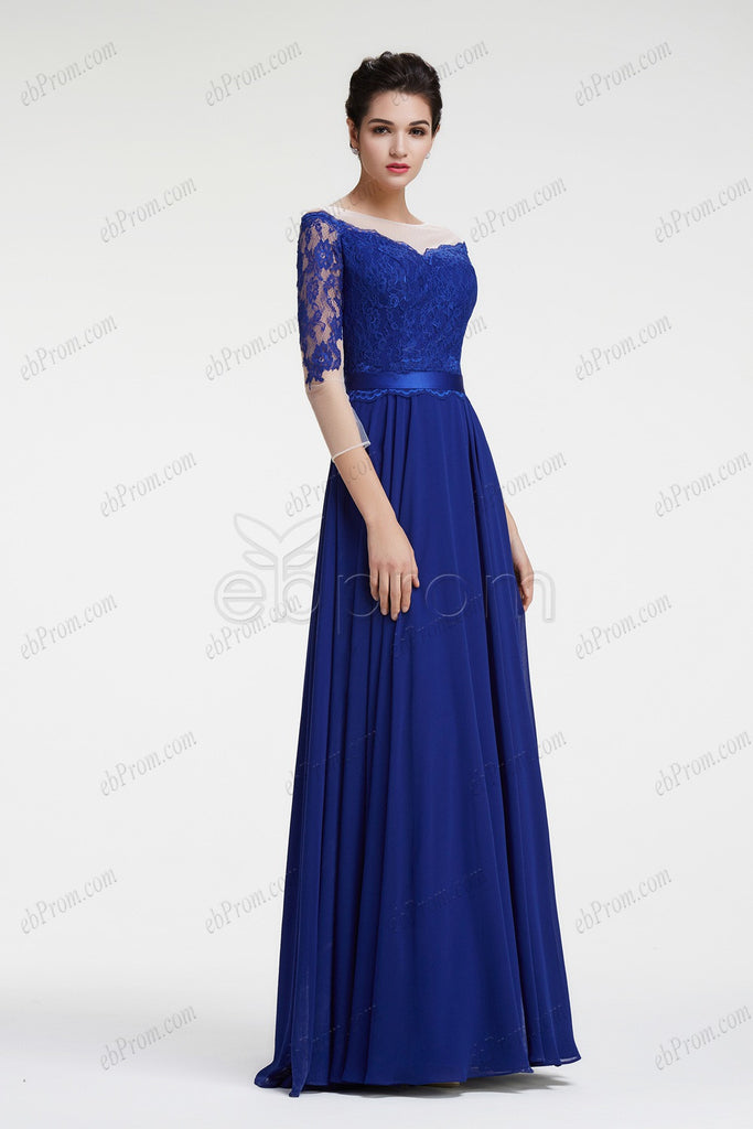 Royal Blue Mother Of The Bride Dress With Sleeves Plus Size Formal
