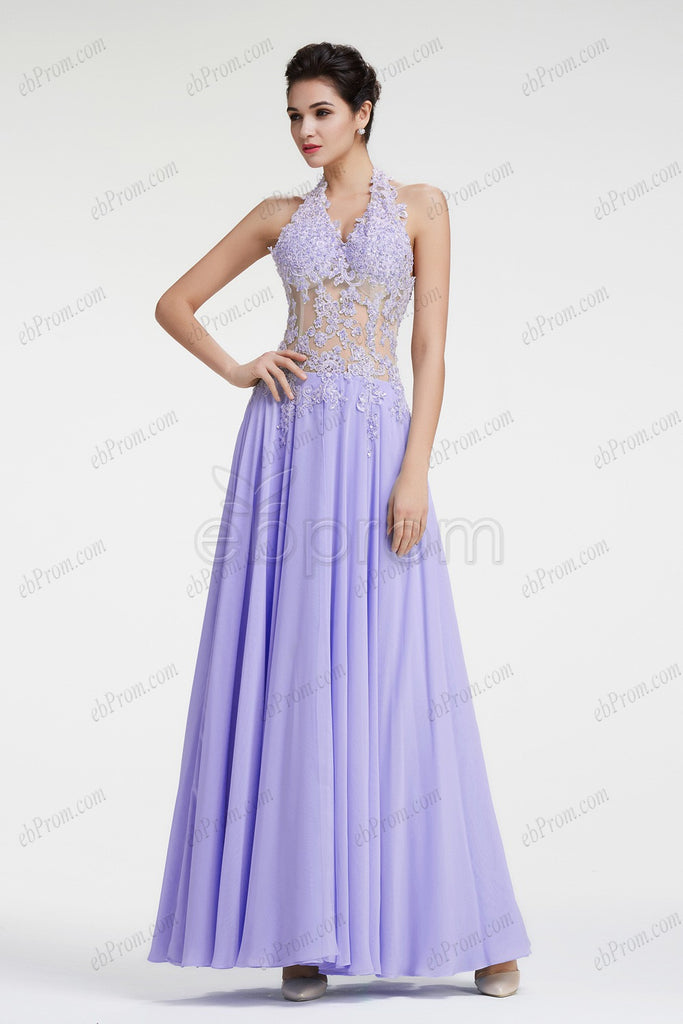 Halter Lavender beaded lace see through prom dresses