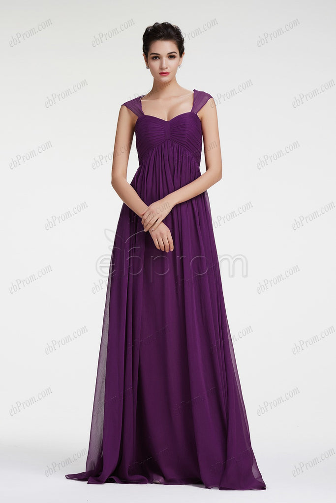Dark purple mix and match bridesmaid dress empire waist