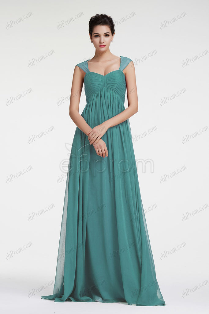 Dusty green evening dresses empire waist for maternity bridesmaid dress