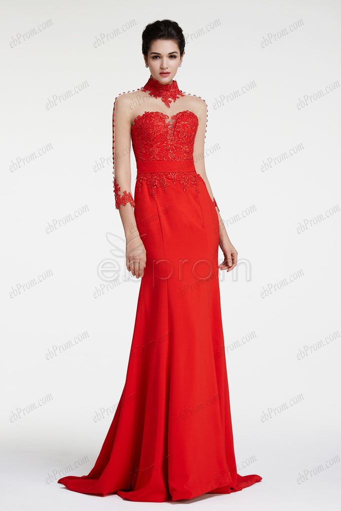Mermaid red backless prom dress long sleeves evening dresses