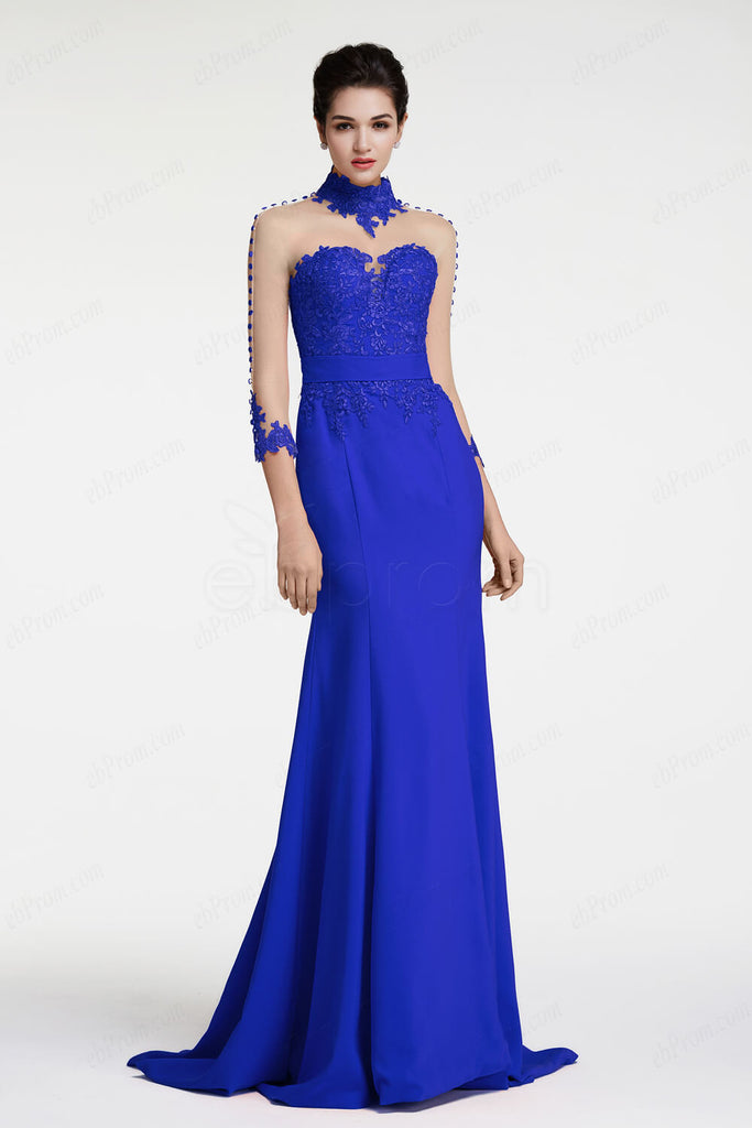 Royal Blue Mermaid Evening Dresses Pageant Dresses Long Sleeves