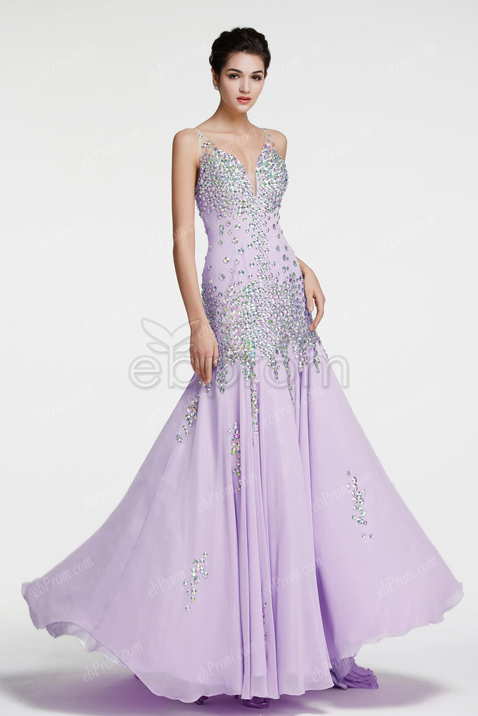 Crystals sparkly lavender mermaid prom dresses