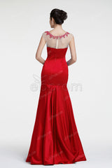 Red mermaid prom dresses cap sleeves