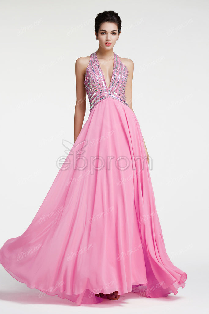 Pink crystals sparkly backless prom dress