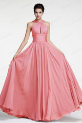 Halter coral bridesmaid dresses long
