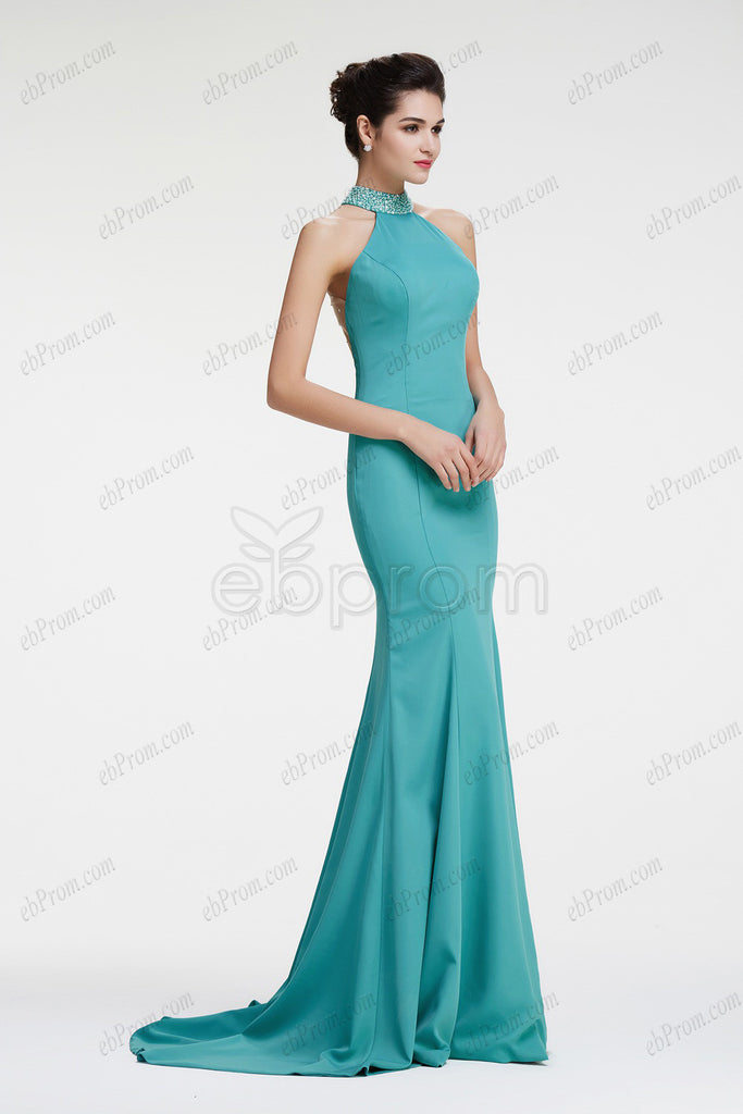 mermaid halter Dusty green backless prom dress long