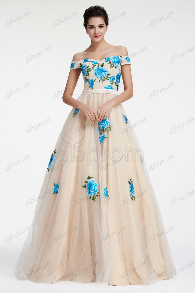 Champagne ball gown prom dress with blue embroidered flower