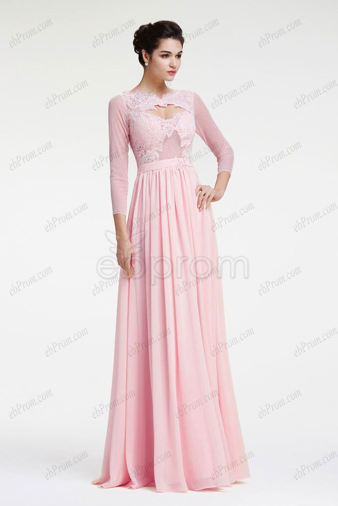 Light pink long sleeves prom dresses
