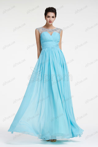 Crystals light blue prom dresses long