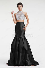 Black and white beaded two piece mermaid prom dresses