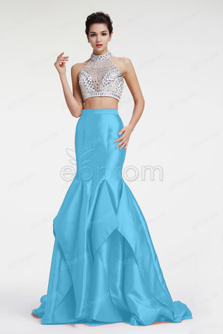 Aqua blue two piece sparkle mermaid prom dress