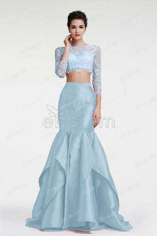 Slate blue mermaid two piece prom dresses long sleeves with slit