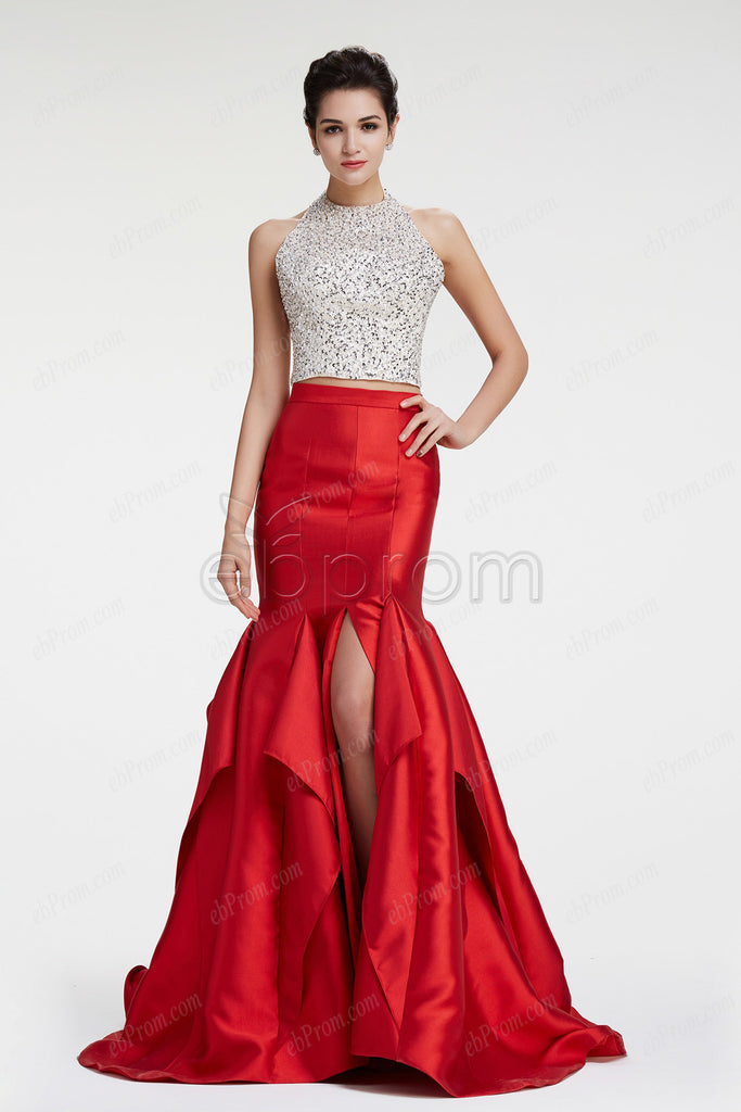 Red Mermaid Halter backless beaded prom dress with slit
