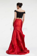 Black red off the shoulder mermaid prom dress with slit pageant dresses