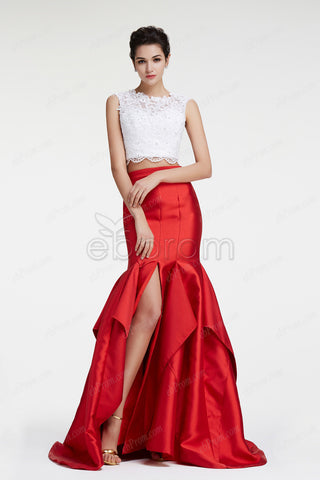 Two piece Red mermaid prom dress with slit