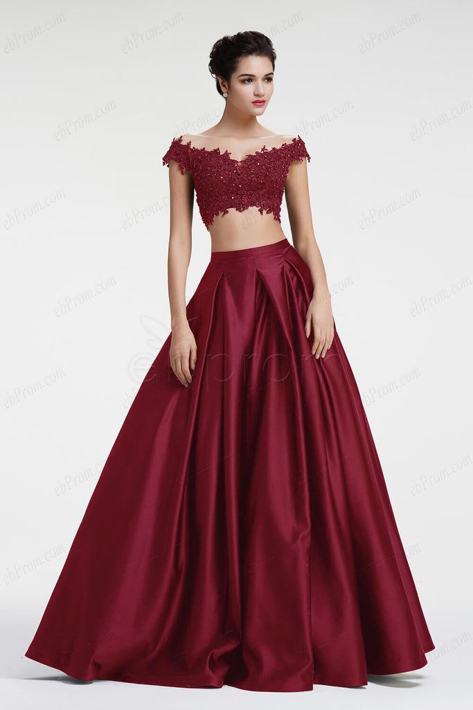 0f239470234 Burgundy off the shoulder Ball gown two piece prom dresses – ebProm