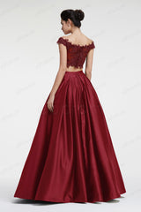 Burgundy off the shoulder Ball gown two piece prom dresses