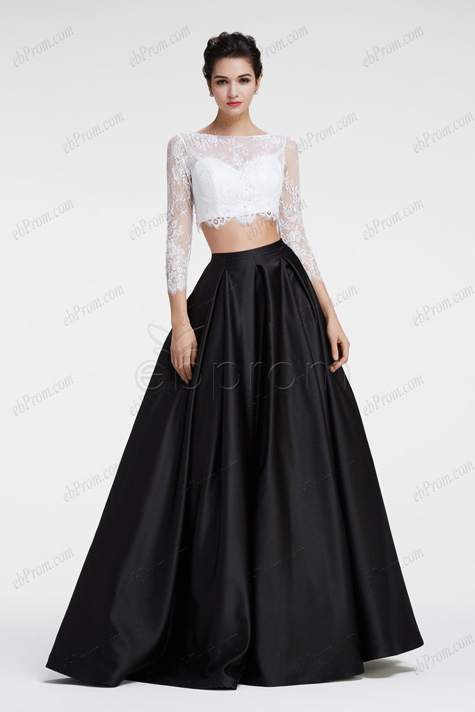 Black and white ball gown two piece prom dresses long sleeves – ebProm