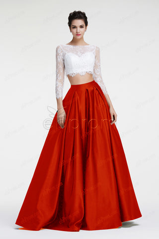Ball gown two piece prom dresses white red pageant dresses long sleeves