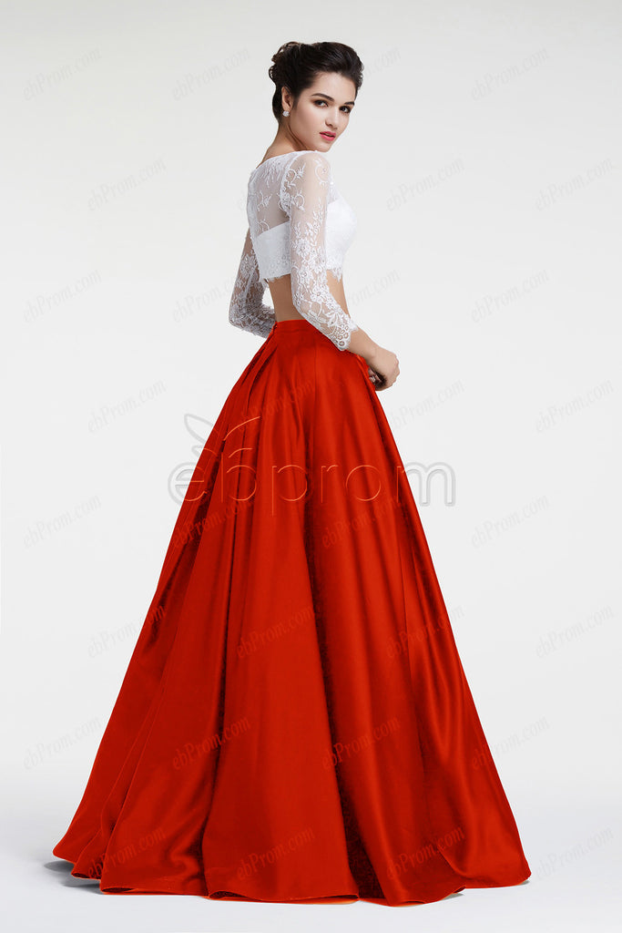 Ball gown two piece prom dresses white red pageant dresses long ...