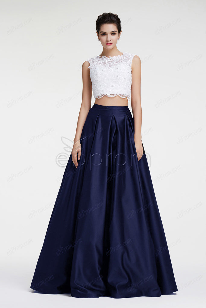 Navy blue two piece ball gown prom dresses quinceanera dresses – ebProm