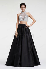 Sparkly black and white ball gown two piece prom dresses