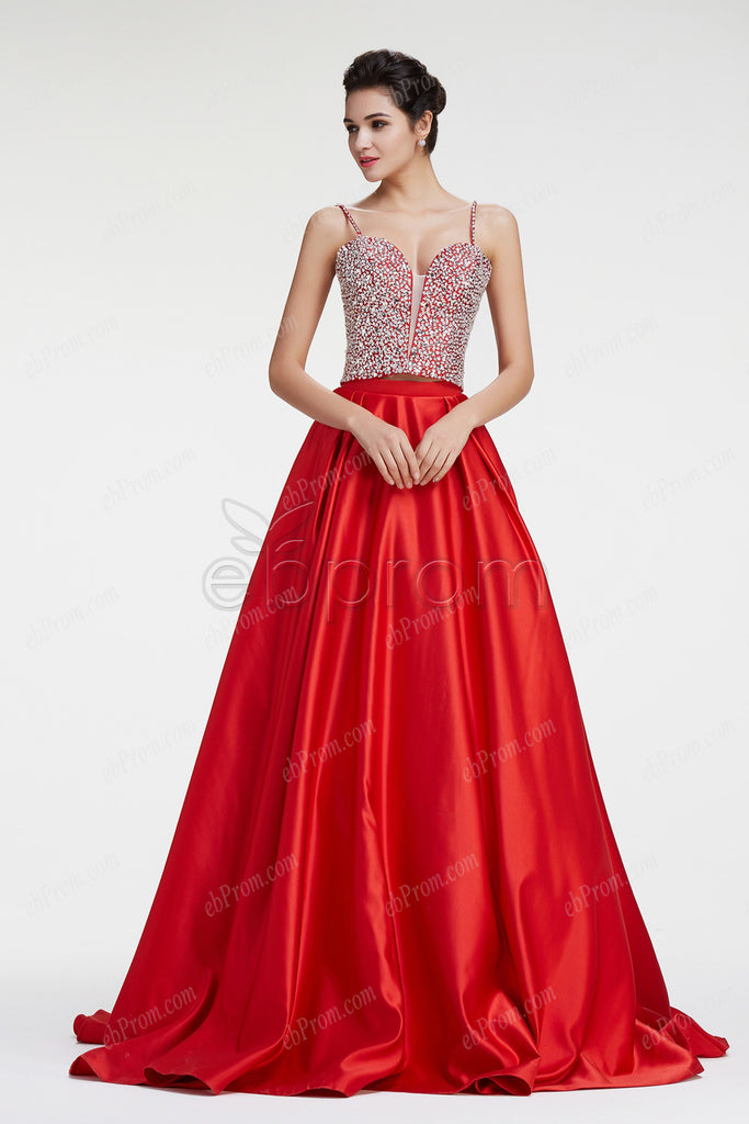 Spaghetti straps red glitter crystal red ball gown prom dress – ebProm