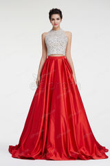 Crystal sparkly two piece ball gown prom dresses long