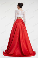 Ball gown red two piece prom dresses quinceanera dresses