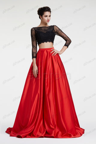 Black lace red ball gown two piece prom dress long sleeves