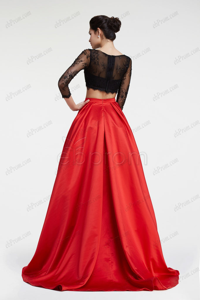 Black lace red ball gown two piece prom dress long sleeves – ebProm