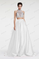Crystal Glitter ball gown white two piece prom dress pageant dress