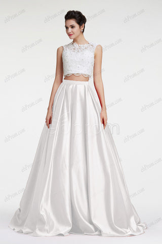 White ball gown two piece prom dress