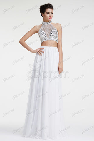 Crystal sparkle two piece prom dresses pageant dresses
