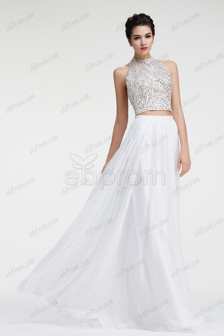 Halter Beaded Sparkle Two piece prom dresses white