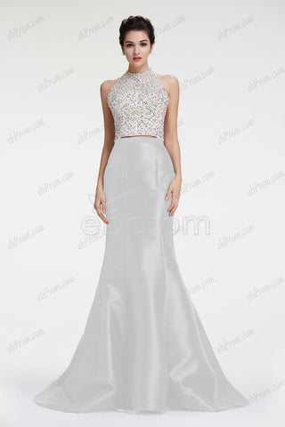 Halter backless mermaid white prom dress homecoming dresses