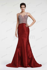 Burgundy glitter crystal mermaid prom dresses evening dresses