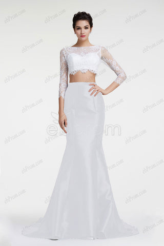 White mermaid two piece prom dress long sleeves pageant dresses
