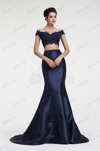 Off the shoulder navy blue two piece mermaid prom dresses